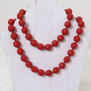 Red Cinnabar Bead Necklace
